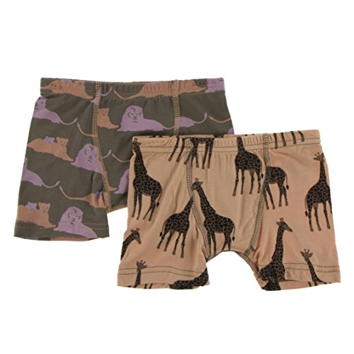 (Kickee Pants Little Boys Boxer Briefs Set (Set of 2), Lions and Suede Giraffes, Medium )