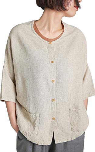 Ecupper Women's 3/4 Draped Sleeve Button Down Loose Linen Cotton Long Tunic Blouse Shirts Natural US(16W-18W)/Tag2XL