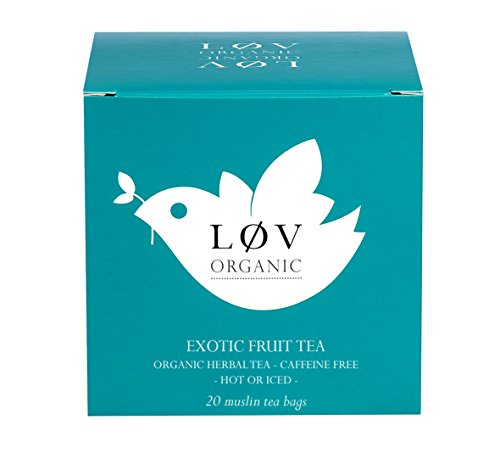 (Løv Organic Exotic Fruit Tea - Apple, Rosehips. Mango, Hibiscus, Chicory, Pineapple, and Passion Fruit Infusion Refreshing and Pleasurable Perfect for Tea Lovers (20 Muslin Tea Bags 20 Servings))