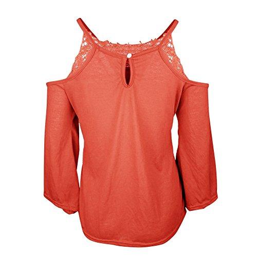 ... ishine Casual Frauen T-Shirt Top Schulterfrei Langarm  Rundhalsausschnitt mit Spitze Trägerlose Bluse Weit Shirt ... 07516ab87a