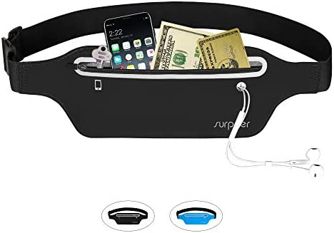 Waist Pack SURPEER Slim Running Belt, Water Resistant Lightweight Bounce Free Fitness Workout Belt Sport Waist Pack in Biking Walking Hiking Gym Sports Fitness with Pack Headphone Hole,Soft Sweat-Pro