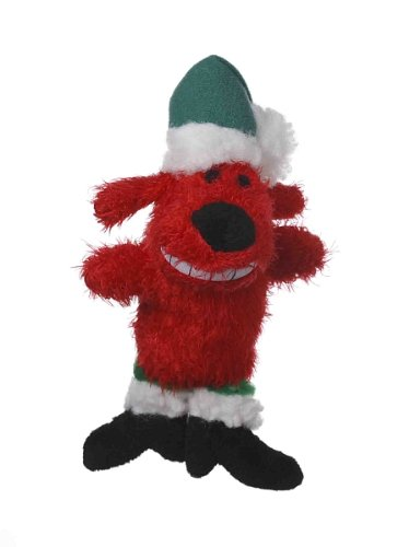 Multipet's Red 6-Inch Santa Loofa Plush Dog Toy That Squeaks (Loofa Cat)