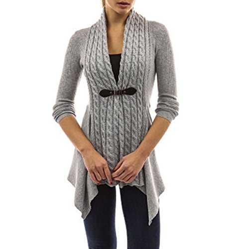 xhorizon FL1 Women's Fashion Belted Knitted Long Sleeve Blouse Tops Sweater Cardigan (Grey,L)