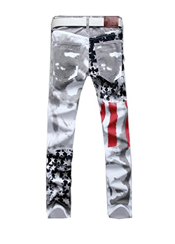 Vogstyle Men's Printed Distressed Ripped Long Straight Slim Fit Skinny Jeans Pants Style 1-White-32 by Vogstyle (Image #3)