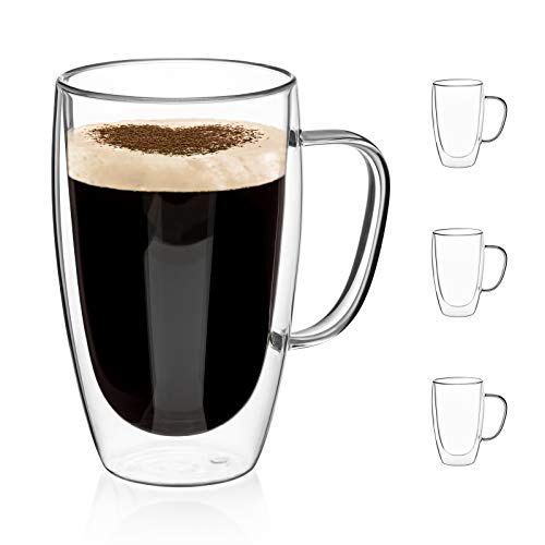 Double Walled Glass Coffee Mugs Glass Mug With Handles Double Wall Cappuccino Cups, Coffee/tea Mugs, Clear Glasses Large With Handle