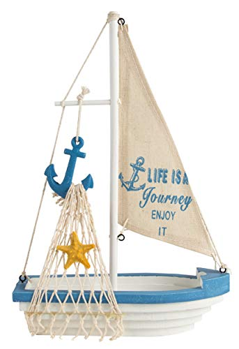 Juvale Sailboat Model Decoration - Wooden Sailing Boat Home Decor Set, Beach Nautical Design, Navy Blue and White with Anchor, 12.5 x 8.25 x 3 -
