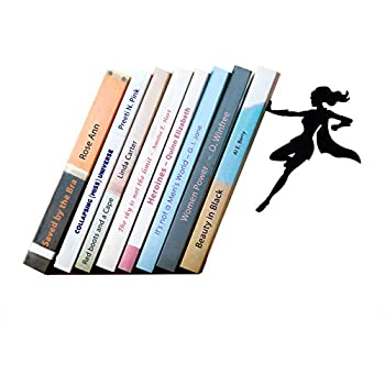 Artori Design Supergal | Black Metal Female Superwoman Bookend| Unique Bookends | Gifts for Girls | Gifts for Book Lovers | Cool Book Stopper