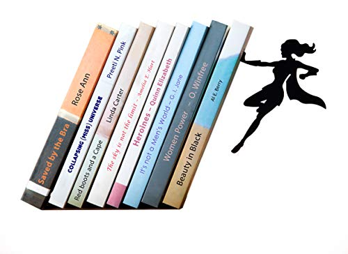 (Artori Design Supergal | Black Metal Female Superwoman Bookend| Unique Bookends | Gifts for Girls | Gifts for Book Lovers | Cool Book Stopper)