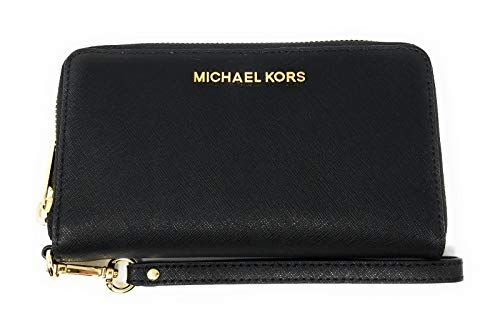 Michael Kors Women's Jet Set Travel Large Smartphone Wristlet (Black/Gold)