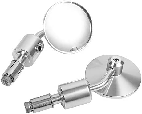 Silver 1 Pair 7//8 inch Round Handlebar Bar End Rear View Mirrors Motorcycle Motorbike Sidemirror Rearview Mirrors