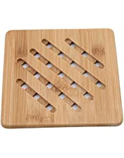 NIKOLay Non-Slip Bowl Cup Pad Household Bamboo Placemat Kitchen Cooking Accessories,L,Square