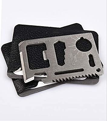 GAOMIN Y.W Credit Card Survival Tool - 11 in One Multipurpose Beer Bottle Opener Portable Wallet Size Pocket Multitool Gift for Him Silver Beer Bottle Opener/Portable Wallet Pocket Size for from GAOMIN