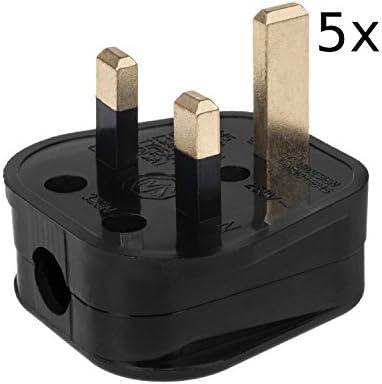 Maclean MCE193 UK Netzstecker 3 Pin 13A 230V Adapterbuchse Stecker (5 Stück)