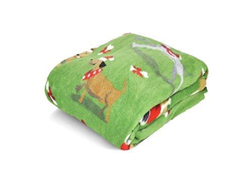 Christmas Holiday Time Plush Throw (Green) Holiday Dogs