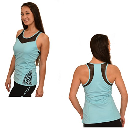 Ori Active Koru Women's Workout Tank With Polynesian Maori Design - Built In Bra With Removable Bra Cups (Extra Large)