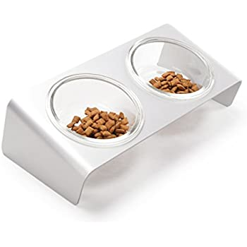 4CLAWS Elevated Cat Feeder With Glass Bowls