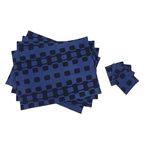 NOVICA Blue Cotton Placemats and Coasters, Tracks' (Set for 4)