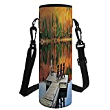 Water Bottle Sleeve Neoprene Bottle Cover,Landscape,Chairs on Wooden Dock Vibrate Color Fall Forest Reflection Lake View,Orange Yellow Green,Fit for Most of Water Bottles