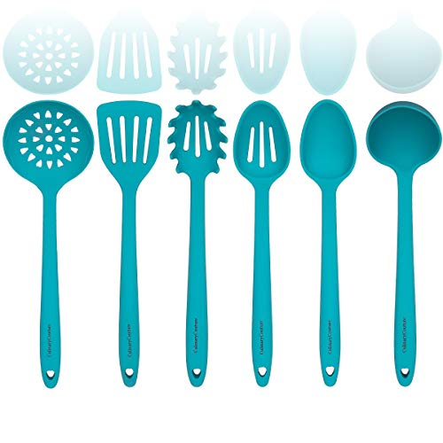 Aqua Sky Silicone Cooking Utensils Set – Sturdy Steel Inner Core – Spatula, Mixing & Slotted Spoon, Ladle, Pasta Server…