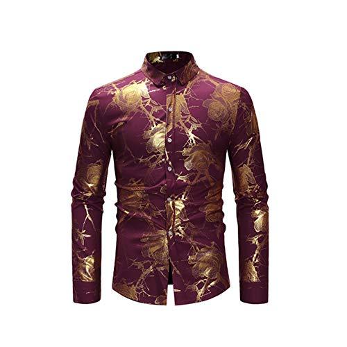 Dark Formula Bronzing (Lu Studio Rose Flower Shirt Men Gold Print Bronzing Social White Slim Dress Shirts Wedding Nightclub,Wine Red,S)