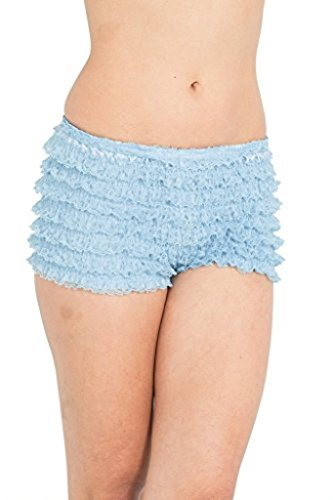 BellaSous Womens Sexy Ruffle Panties Tanga Dance Bloomers Sissy Booty Shorts (Light Blue, Medium)