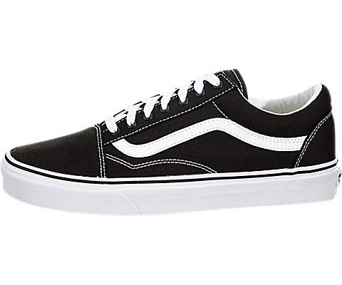 Vans Unisex Old Skool Classic Skate Shoes (6.5 B(M) US Women / 5 D(M) US, (Canvas) Black/True White)