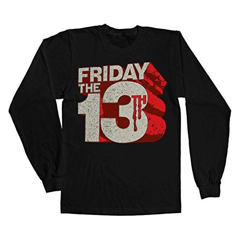 Friday The 13Th Long Sleeve T Shirt Block Logo Official Mens Black -