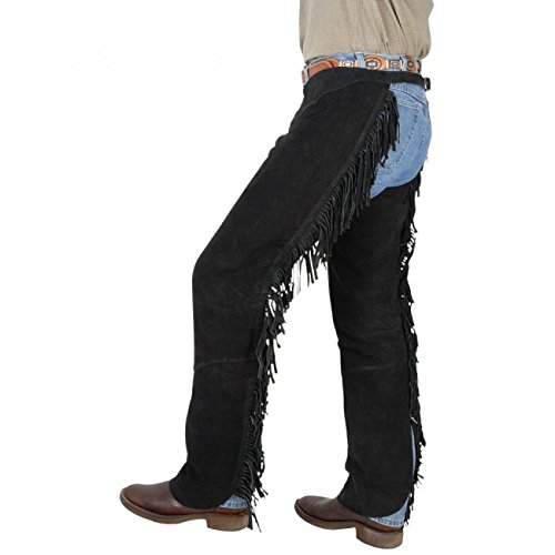 PRORIDER L Horse Western Smooth Suede Leather Cowboy Cutting Chaps 924RH01BK - Horse Show Chaps