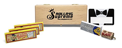 Club Modiano Rolling Papers Bistro 1 1/4 Ungummed (3 Packs) Wooden Stash Box, Bulldog Tips, RAW Hemp Wick and Hippie Butler Scoop Card - 7 Item Bundle