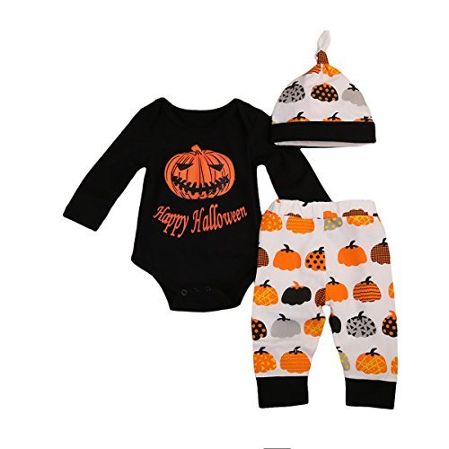 Toddler Baby Boys Girls 3Pcs Halloween Costumes Romper Jumpsuit+Pumpkin Pants+Hat Outfits Sets (12-18 Months, A)