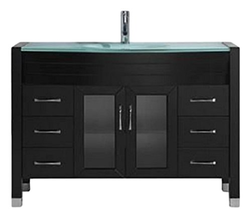 Virtu USA Ava 48 inch Single Sink Bathroom Vanity Set in Espresso w/ Integrated Round Sink, Aqua Tempered Glass Countertop, Single Hole Polished Chrome, 1 Mirror - MS-509-G-ES