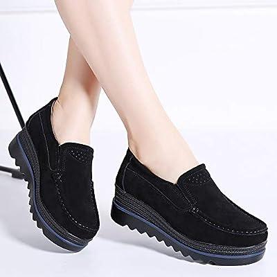 HKR Women Platform Slip On Loafers Comfort Suede Moccasins Wide Low Top Wedge Shoes