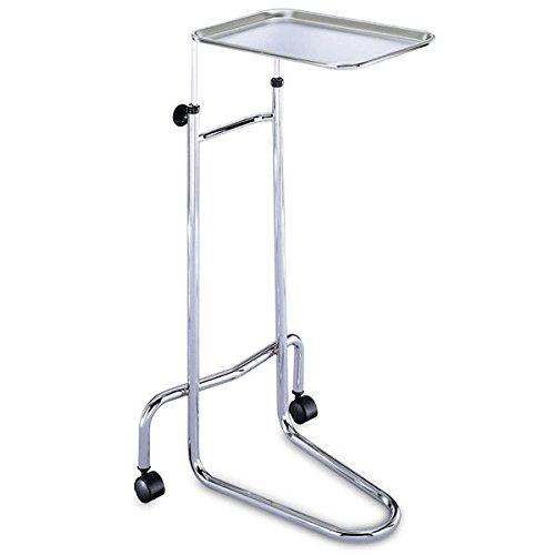Hand-Adjustable Chrome Stand Double-Post Mayo Stand 34.5