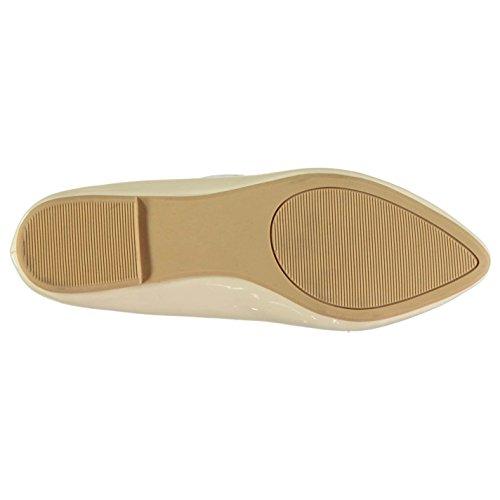 Full Circle Mujer Patent Tassel Señoras Mocasines Zapatos Ponerse Casual Calzado Nude