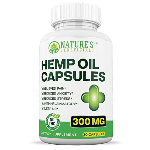 Organic Hemp Oil Extract Capsules 300mg - Ultra Premium Pain Relief Anti-Inflammatory, Stress & Anxiety Relief, Joint Support, Sleep Aid, Omega 3 6 9, Non-GMO Ultra-Pure Full Spectrum CO2 Extracted ()