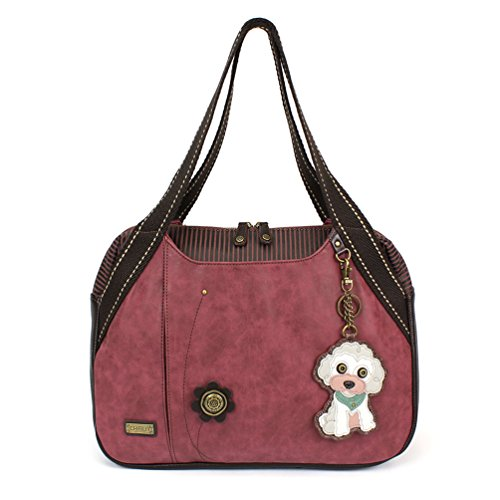 Chala Large Bowling Tote Bag with coin purse Burgundy (Poodle -