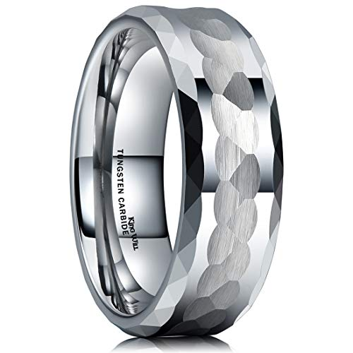 King Will Hammer Men 8mm Tungsten Carbide Ring Multi-Faceted Hammered Polished Finish Wedding Band9.5