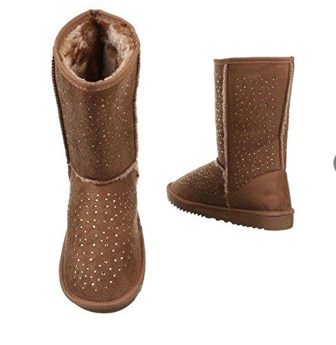 Unbekannt - Botas para mujer marrón claro