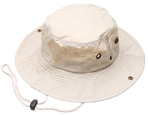 Summer Outdoor Boonie Hunting Fishing Safari Bucket Sun Hat with Adjustable Strap (Putty,LXL)