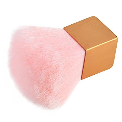 Dolloress Beauty Nail Belleza Uña⭐ 8.5X4.5X4.5cm Pink Dust Removal Makeup Brush Cosmetic Contour Face Blush Powder Foundation (Copper Foundation Powder)