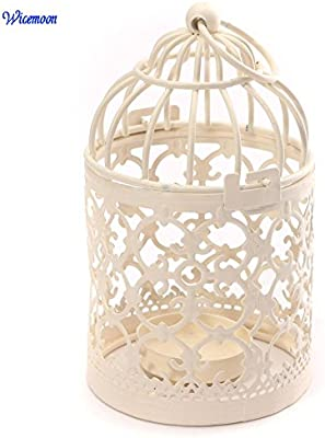 Wicemoon Portavelas de metal con forma de jaula de pájaros para ...