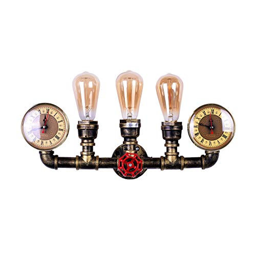 LMSOD 3 Lights Water Tube Wall Sconce,Retro Industrial Steampunk Wall Light Fixture in Antique ()