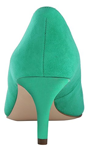 Pumps Toe Closed Suede Mid Toe 6 uBeauty Heel Office Womens Shoes Shoes 5cm Slip Stiletto Heel Green Court On 6 5cm Pointed IPSq6