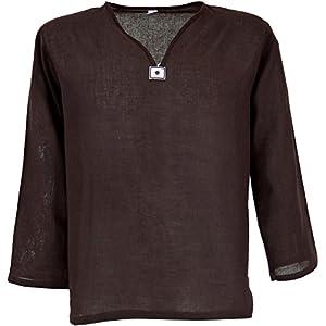 GURU-SHOP Camicia di Yoga, la Camicia Goa, Dicotone, Camicie da Uomo