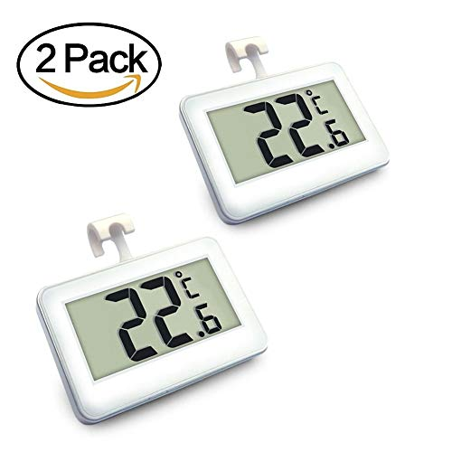 Digital Refrigerator/Freezer Thermometer, AIGUMI Waterproof Freezer Thermometer with Hook - Easy to Read LCD Display - Perfect for fridge (2 Pack) by AIGUMI