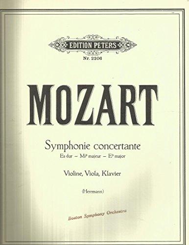 Mozart Symphonie Concertante Eb Major (Hermann) violine, viola, klavier Edition Peters Nr. 2206 INCOMPLETE - NO VIOLIN (Concertante Viola)