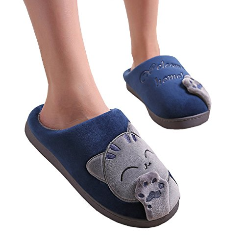 Maybest slip Cozy Bedroom Soft Warm Home Ladies Slip Non Mules Plush Cute Shoes Indoor Womens Cartoon Winter Blue Slippers Girls on CrSCfq1