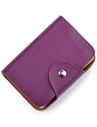Aladin Unisex Small Leather Credit Card Holder with 26 Plastic Card Slots Purple