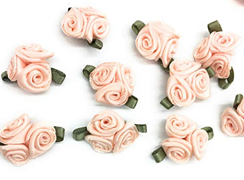 144 X 3= Mini Peach Rosettes Fabric Flowers (3 Flowers with Green Leaf) - Head Applique,Craft, Sewing,Leaf
