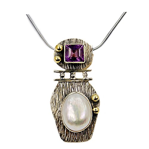 Amethyst, Simulated Biwa Pearl & Sterling Silver Pendant Necklace